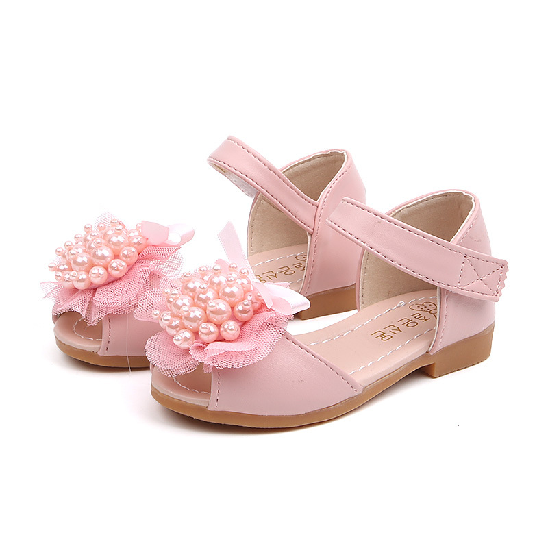 2019New Kids Shoes Beads Flowers Baby Girls princess little girls Sandals Pink Beige Fit 1 2 3 4 5 6Years Old