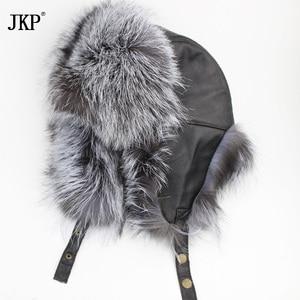 Image 2 - نجمة الرجال الفراء القبعات 2020 حقيقية الثعلب الفراء الجلد القيقب حقيقية لى فنغ الرجال Bomber القبعات الشتاء جلد طبيعي الروسية HJL 08