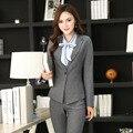 Estilos Uniformes Pantsuits formais Novidade Cinza para Calças Mulheres De Negócio Ternos Com Coletes E Calças Das Senhoras Calças de Escritório Conjunto