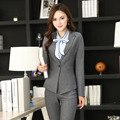 Formal Pantsuits Novelty Gray Uniform Styles for Business Women Pants Suits With Jackets And Pants Ladies Office Trousers Set