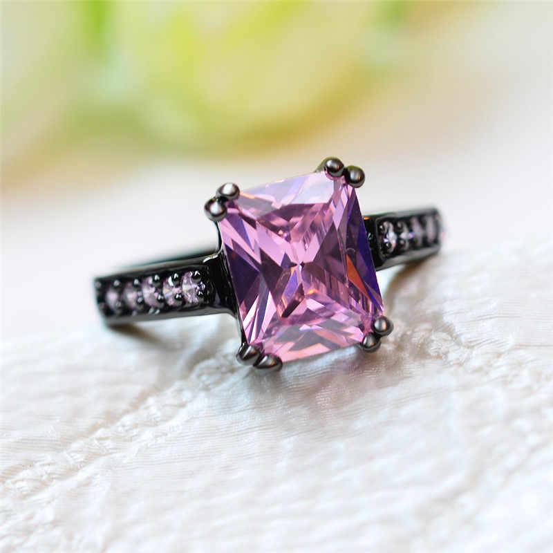 ใหญ่หรูหราสีชมพู Zircon แหวนแฟชั่นสีดำทองความรักงานแต่งงานแหวนสัญญาหมั้นแหวน