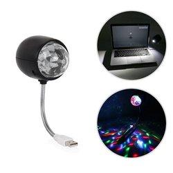 ABS kula dyskotekowa lampa  obrotowa lampa RGB kolorowe oświetlenie sceniczne LED/Party żarówka 3W zasilanie USB (czarny) upuść zakupy