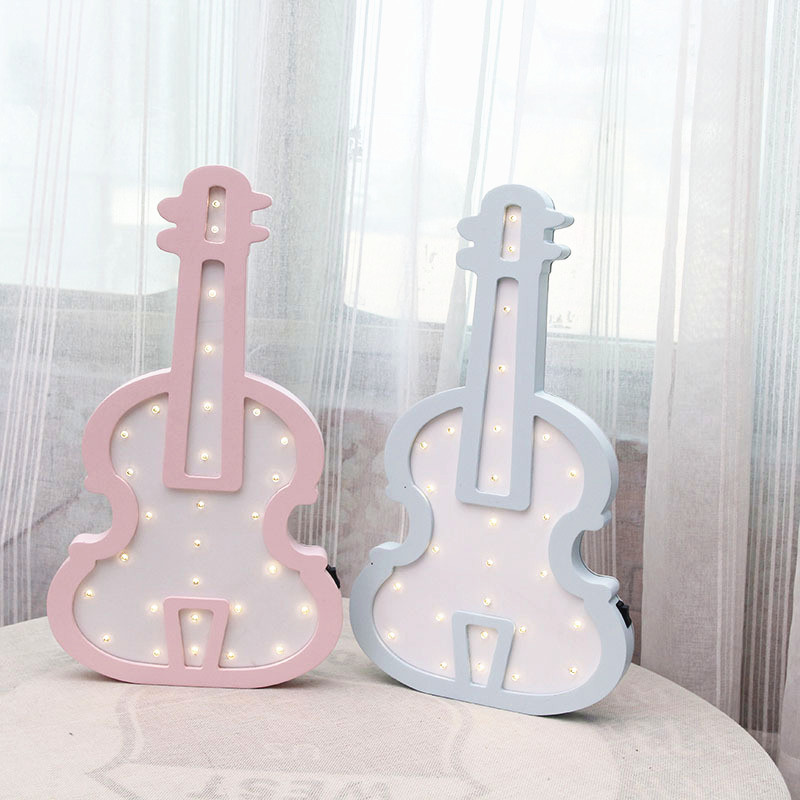 Nordic violin LED lights wall hanging decorations girls room decoration ornaments decorative gifts