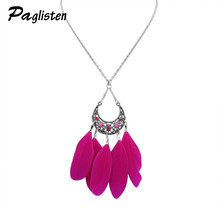 2017 Fashion Retro Bohemian Color Feathers Moon Pendant Clavicle Chain Geometric Fringed Feather Sweater Chain Necklace