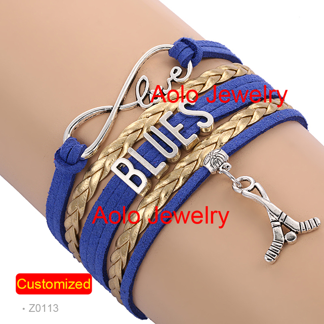 6pcs Lot St Louis Hockey Infinity Bracelet Blue Gold Make Your Own