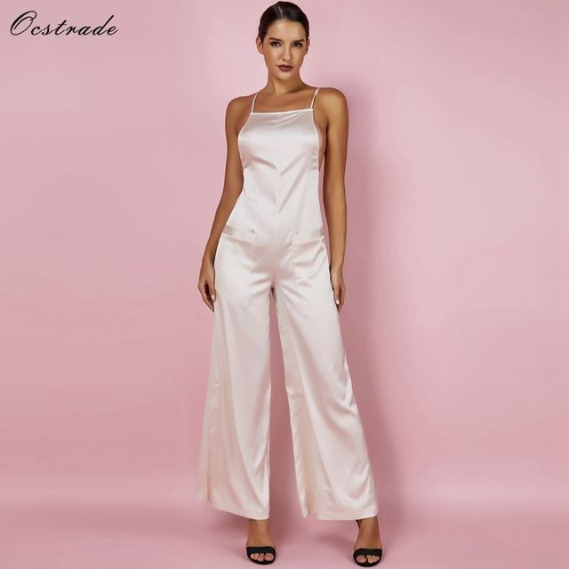 6d74639495d3 Ocstrade Sexy Wide Leg Jumpsuit 2018 Gold Satin Fluid Party Bodycon Jumpsuit  Sleeveless Summer Women Backless Jumpsuit Rompers
