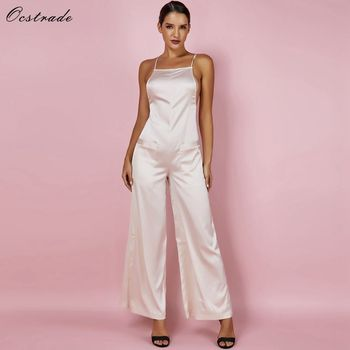 Ocstrade Sexy Wide Leg Jumpsuit 2019 Gold Satin Fluid Party Bodycon Jumpsuit Sleeveless Summer Women Backless Jumpsuit Rompers фото