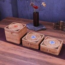Square Storage Box Rattan Weaving Handmade Organizer Wooden