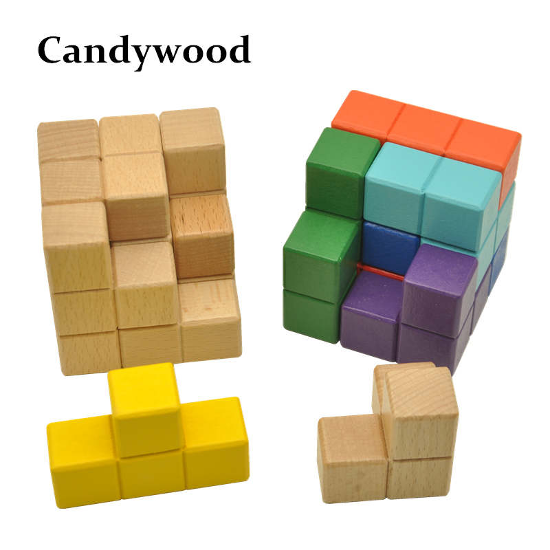 Candywood 3D Wooden Puzzle Luban lock Tetris Cube Puzzles Educational Brain Teaser IQ Mind Game For Children Adult
