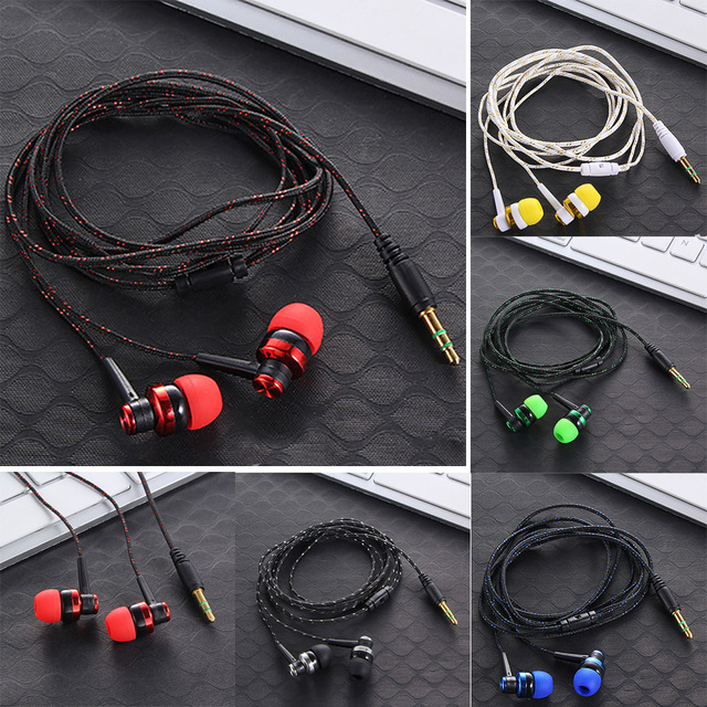 High Quality Wired Earphone Brand New Stereo In-Ear 3.5mm Nylon Weave Cable Earphone Headset With Mic For Laptop Smartphone  & 3