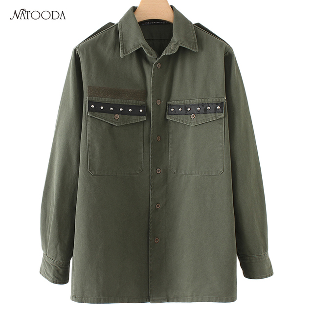 c5c79f90 NATOODA Tassels Rivet Women Blouses 2017 Army Green Fashion Long Sleeve Women  Shirts Casual Vintage Women Tops Blusas XY2858