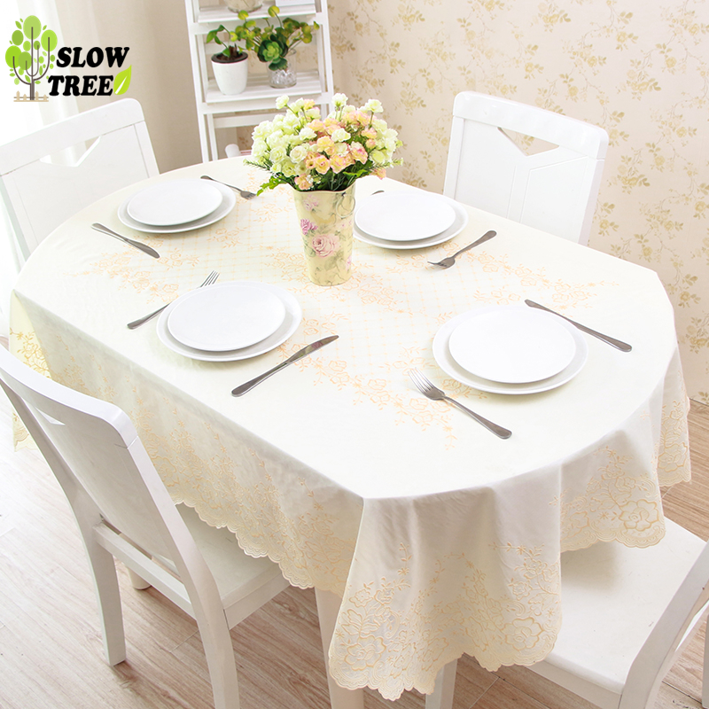 Slow Tree PVC Oval Tablecloth Waterproof Oil Proof Plastic Table Cloth Home Table Cover Lace Fresh Flower Fashion Table Covers