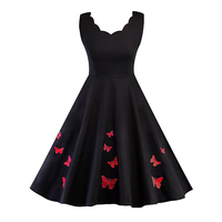 Women Autumn Cotton Vintage Dress 2017 Elegant Sleeveless Butterfly Embroidery Party Dresses 50s Retro Rockabilly Swing