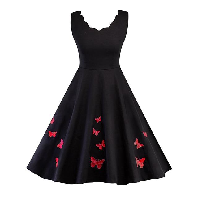 Women Autumn Cotton Vintage Dress 2017 Elegant Sleeveless Butterfly Embroidery Party Dresses 50s Retro Rockabilly Swing Vestidos