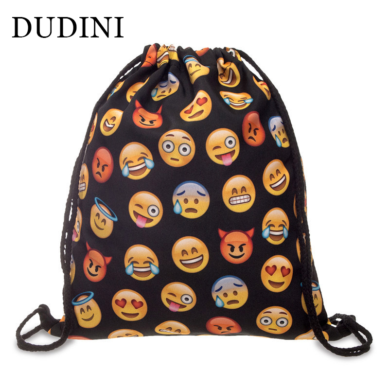 DUDINI Drawstring Bag Unisex Backpacks 3D Printing Travel Soft Backbag Men Women Emoji Backpack Mochila Feminina Canvas Backpack jasmine traveling unisex graffiti backpacks 3d printing bags drawstring backpack sep28
