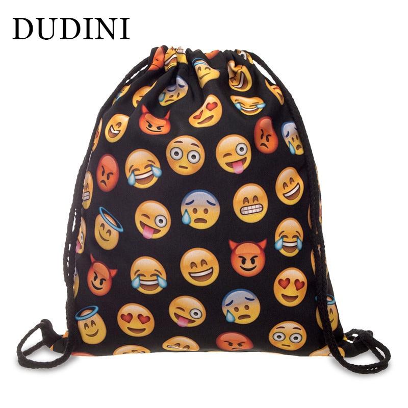 DUDINI Drawstring Bag Unisex Backpacks 3D Printing Travel Soft Backbag Men Women Emoji Backpack Mochila Feminina Canvas Backpack