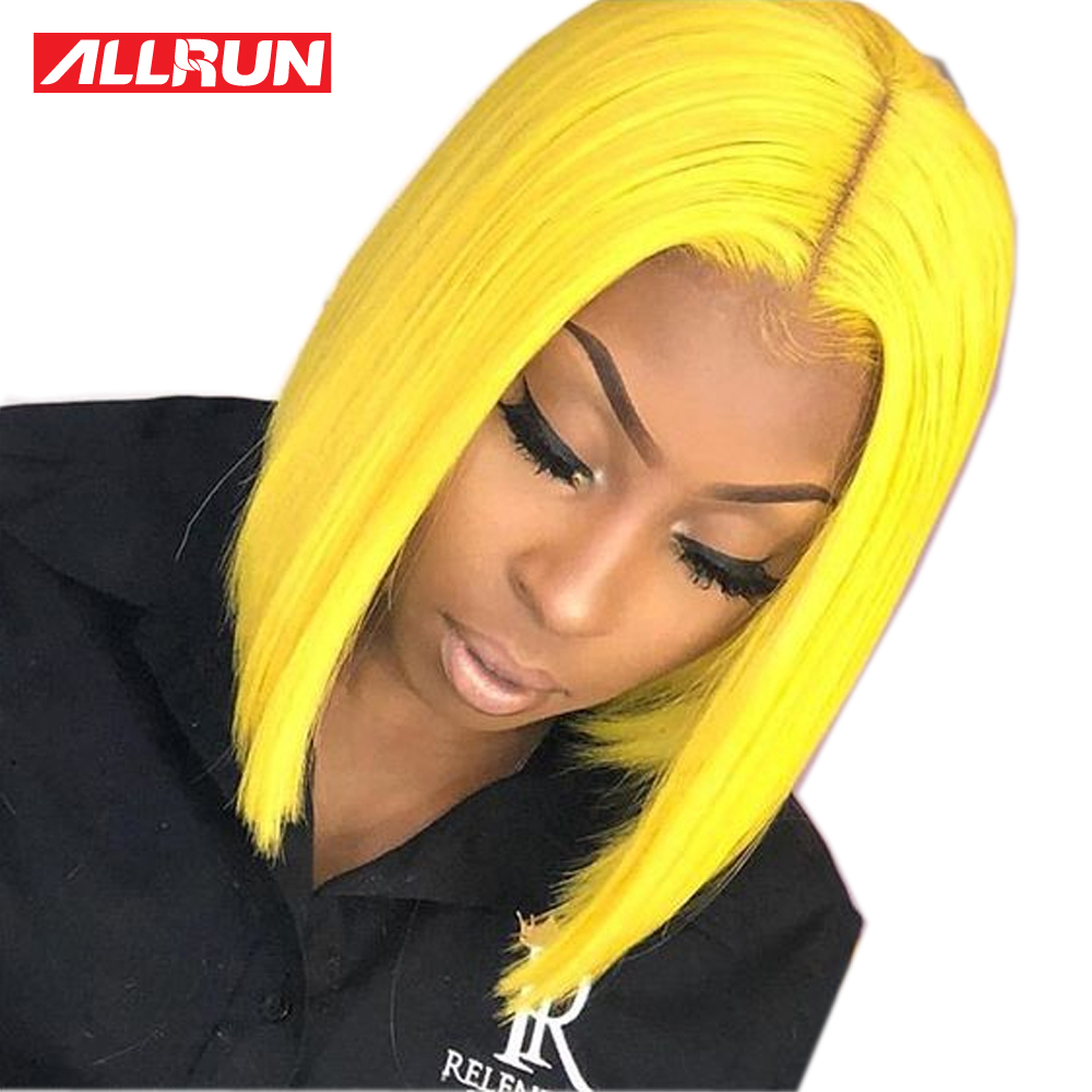 Yellow Blonde Lace Front Wig Pre Colored Remy Malaysia Human Hair Wig Transparent Swiss Lace Front Middle Part Short Bob Wigs