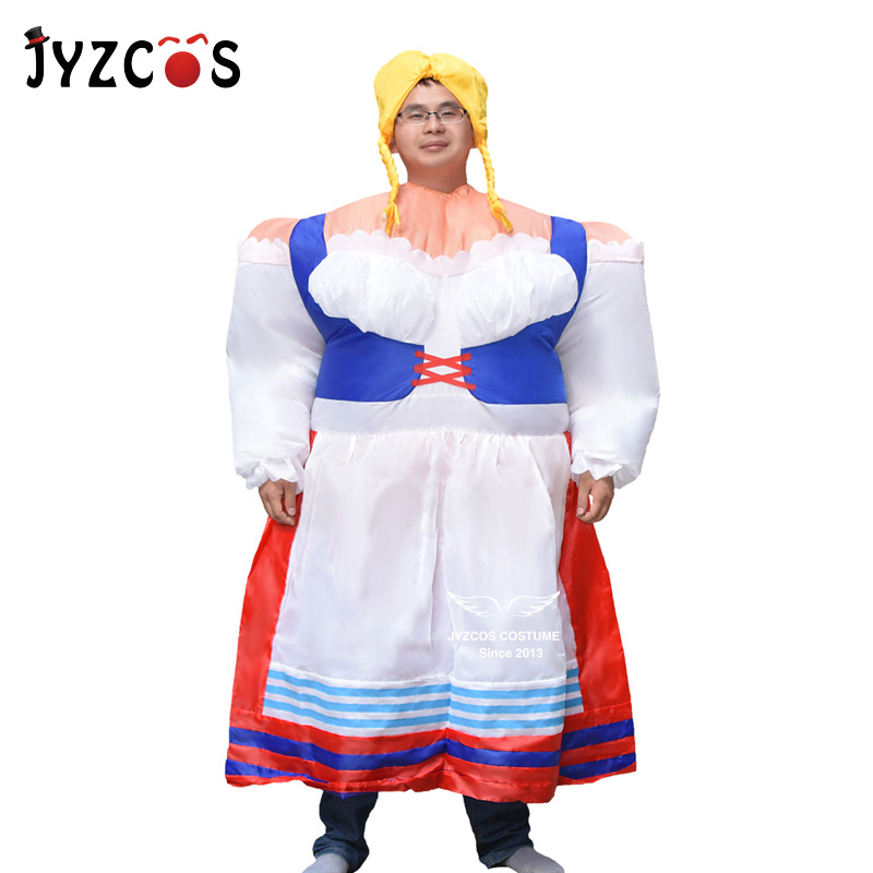 JYZCOS Inflatable Germany Lady costume folk costume funny Bar Party Waiter Waitress Festival Cosplay fancy dress blow Up outfit