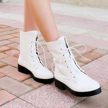 2014 autumn fashion short women boots female Lace up low-heeled Snake print patent leather round toe spring ankle Martin boots