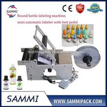 semi automatic round bottle labeling machine for pet/plastic bottle