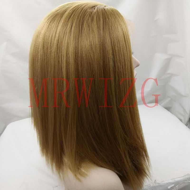 MRWIG #27 Блондинка химическое жаропрочных волокна glueless Передняя кружева парик 14 inch настоящие волосы яки/странный прямо средняя часть