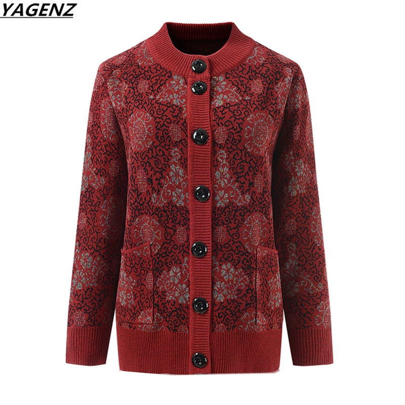 Middle-aged Mother Sweater Cardigan Jacket New Autumn Winter Sweater Plus Size 4XL Female Sweater Knitted Outerwear YAGENZ K627