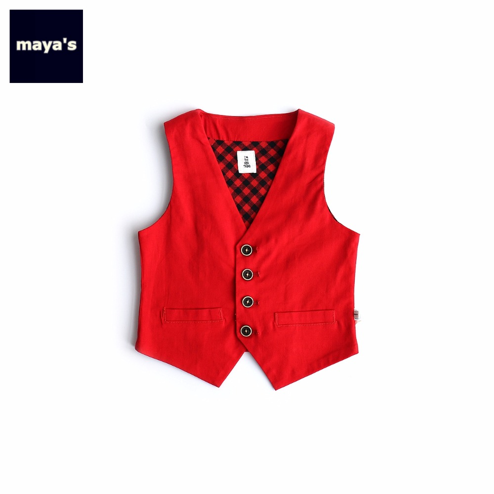 Imported From Abroad Mayas Red Solid Color Plaid Sleeveless Kids Vest Soft Breathable Children V Neck Waiscoats Toddler Spring Basic Tops 82051 High Standard In Quality And Hygiene