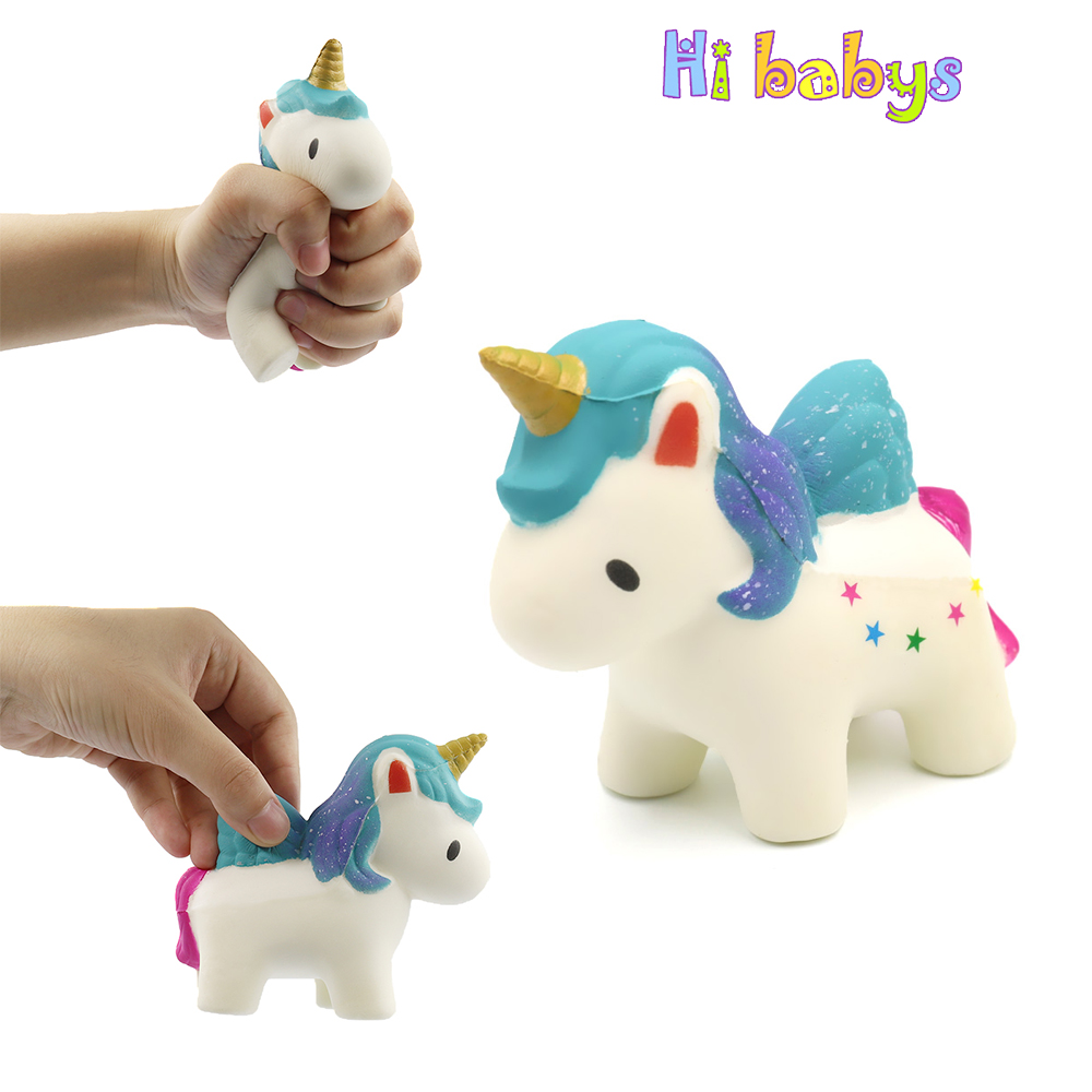 Smooshy Mushy Unicorn Horse Squishes Toy Squishy Slow Rising Squeeze Toy Charm Stress Reliever Toys for Children Stress Squeeze pop out eyes doll stress reliever relief squeeze toy frog green