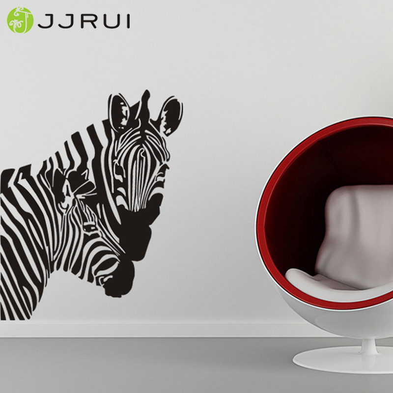 JJRUI Free Shipping Home Decor Pair African Zebra Mom Child Vinyl Wall Stickers Wall Decals 22.8x28.7in