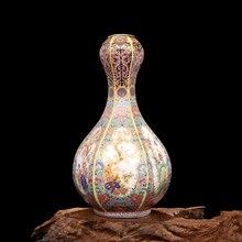 Jingdezhen Vase Antique en céramique démail, carrés, motif de fleurs et doiseaux, porcelaine Ming et Qing Antique