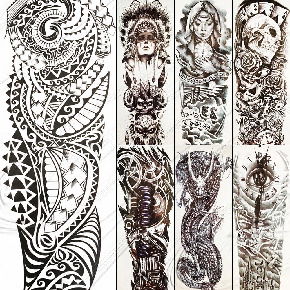 Large Full Arm Black Totem Temporary Tattoo Maori Fake Waterproof Big Tattoo Stickers For Men Women Boy Girls Tatoos 48x17CM
