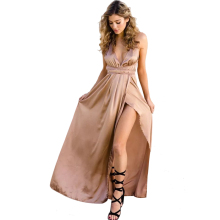 Sexy Strap Satin Backless Women Maxi Dress Slim Deep V Neck Sleeveless Split Bandage Vestidos Summer Beach Party Long Dresses