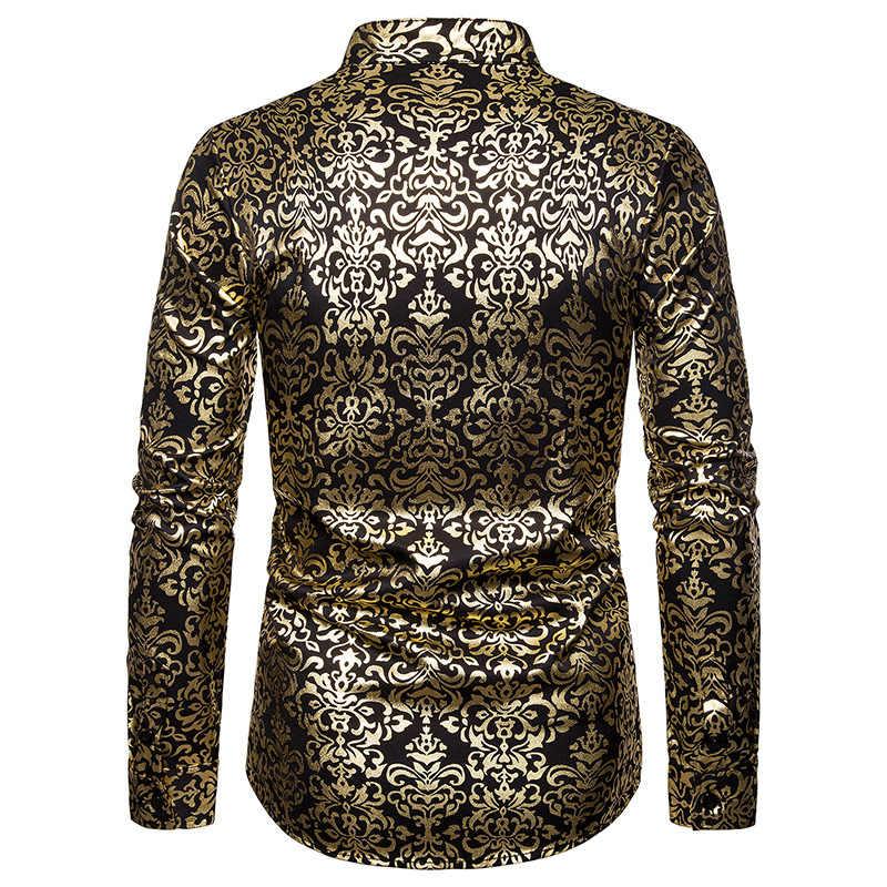 Camisa de esmoquin estampada brillante dorado con estampado Floral de cachemir para hombre camisa de vestir ajustada con cuello rayado para hombre, camisa barroca para fiesta de boda