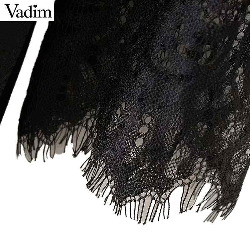 Вадим для женщин пикантные кружевное лоскутное шифоновое миди платье see through выдалбливают плиссированные женские повседневное Черный платья для vestidos QA482