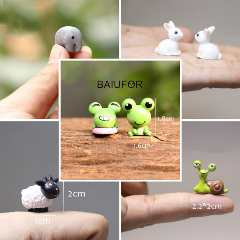BAIUFOR Mini Animals Miniature Fairy Garden Miniaturas Micro Moss Landscape Diy Terrarium Accessories Figurines For Home Decor