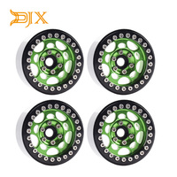 4PCS Metal 1.9 Beadlock Wheel Rims for 1/10 Scale Rc Crawler Traxxas TRX 4 Axial Scx10 II D90 Tamiya CC01 D110(Green+Black)