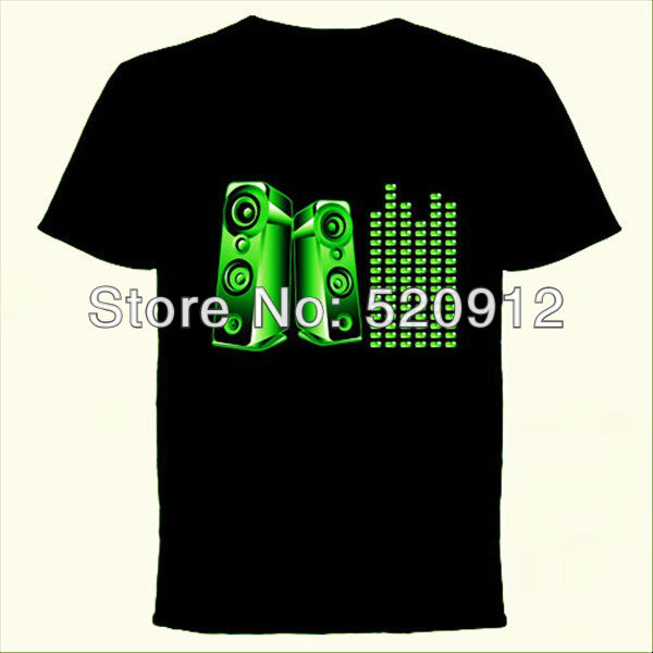 EL T-Shirt Sound Activated Flashing T Shirt Light Up Down Music Party Equalizer LED T-Shirt Dropshipping