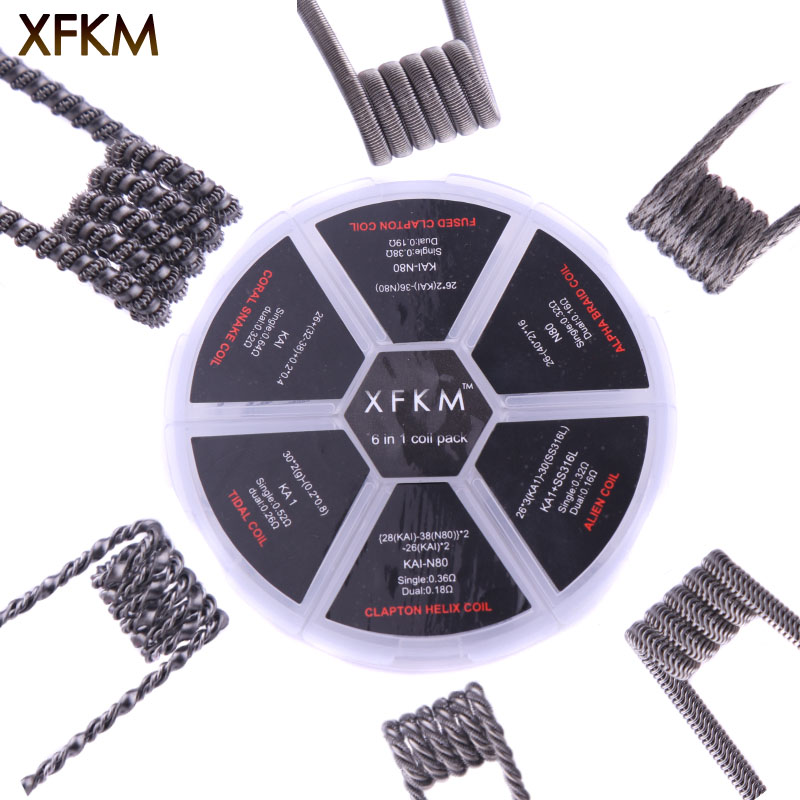 Original 24pcs XFKM 6 in 1 Clapton Coil Pack Alien /Alpha Braid / Fused Clapton /Tidal Coil RDA/RTA/RDTA Atomizer Coil DIY wire original geekvape 6 in 1 coil pack for diy atomizer alien alpha braid fused clapton tidal coil rda rta rdta atomizer coil
