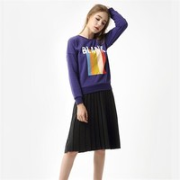 Thread Pleated Skirt Woman Autumn Knit Skirt Long Section Wool Skirts Winter Casual Skirt Female Solid