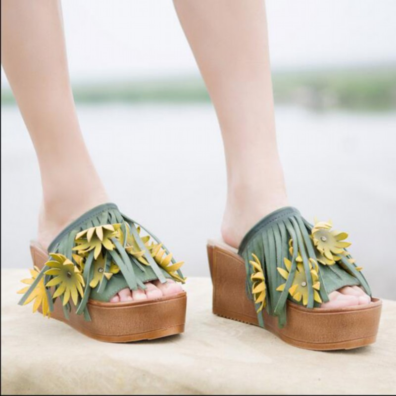 2016 new summer wedge heels women sandals genuine leather thick bottom women slippers flower tassel women