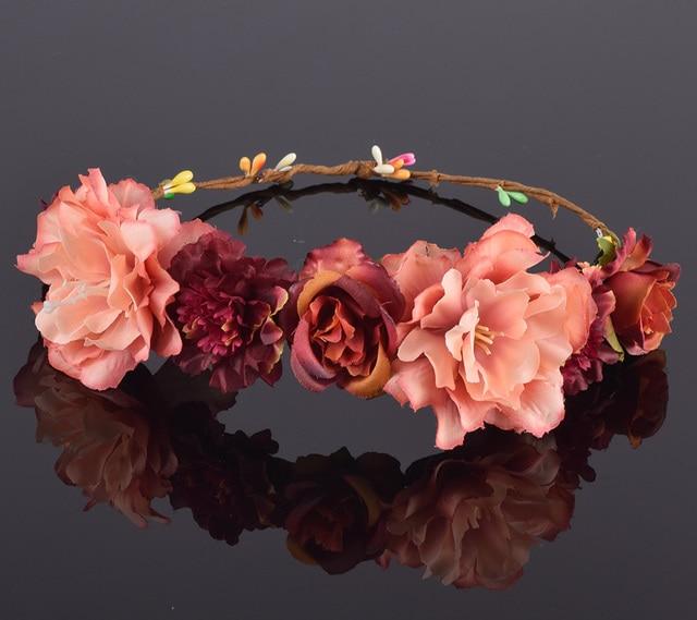 CXADDITIONS Rose Carnation Peony Flower Crown Halo Bridal Floral Headband Wreath Wedding Bands Hair Accessories Women Bridesmaid