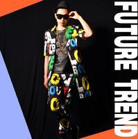 Estate moda Maschile costumi cantanti dj ds allentato manica corta lettera colorata lungo giacca nona pant set vestiti della fase