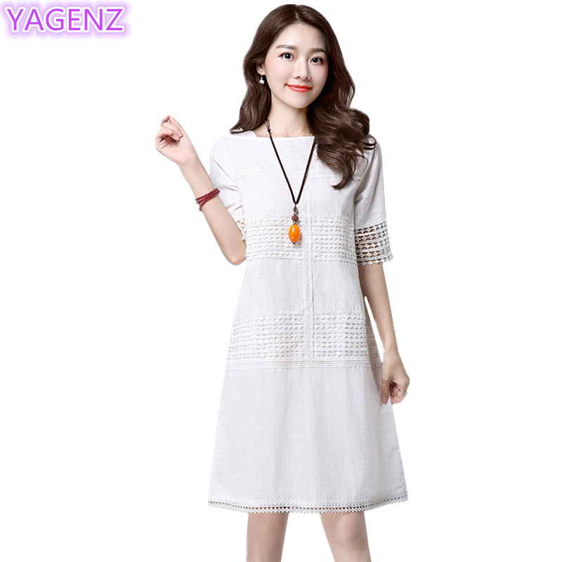 US $21.88 49% OFF|YAGENZ Plus size Dress Women Summer Clothes For Women  Fashion Mini Dress Ladies White Dress Casual Women Dress Short Sleeves  360-in ...