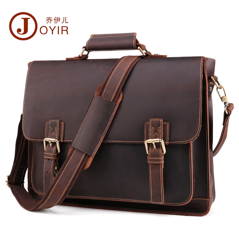 JOYIR men's briefcase crazy horse genuine leather men's business bag vintage messenger shoulder bag for male men briefcase