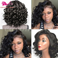 Synthetic Short Lace Front Wigs For Black Woman Curly Synthetic Fiber Front Lace Wig Afro Wig Heat Resistant Hair Synthetic Wigs