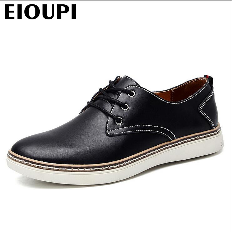 EIOUPI top quality new design genuine real cow leather mens fashion business casual shoe breathable men shoes lh2205 top quality genuine real grain leather boots qshoes mens brand design business dress casual men personalized boot ym08 01