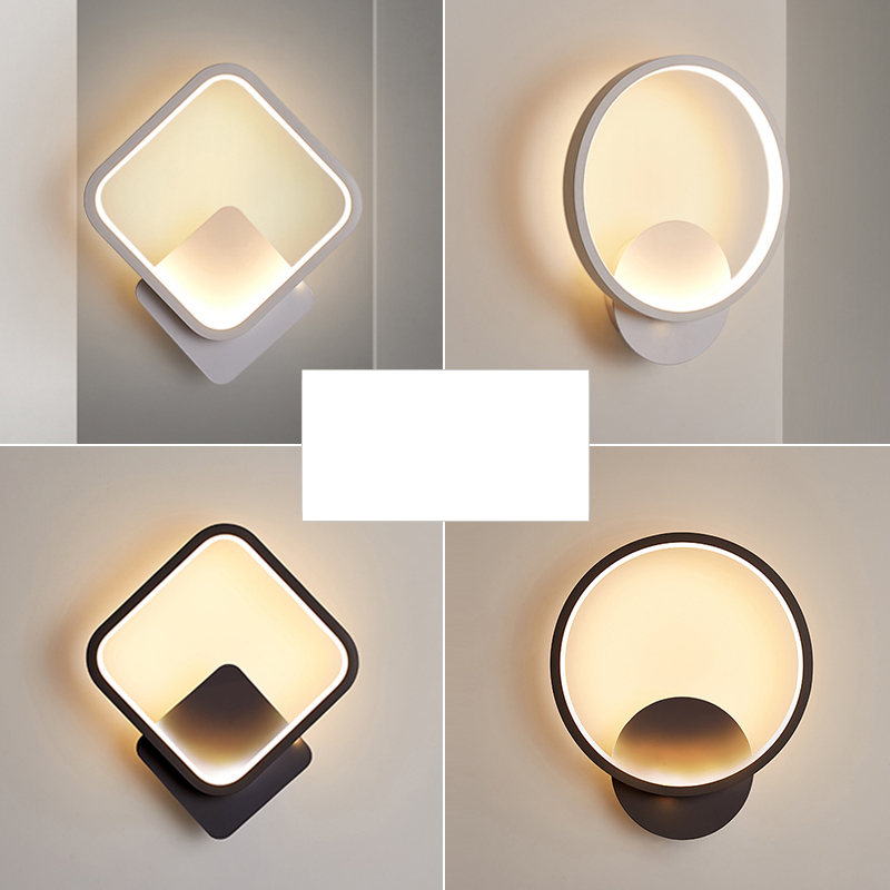 Modern Square/Round LED Wall Lamp For Bedroom Bedside Black/White Sconces AC100 265V Aisle Decoration LED Wall Lighting
