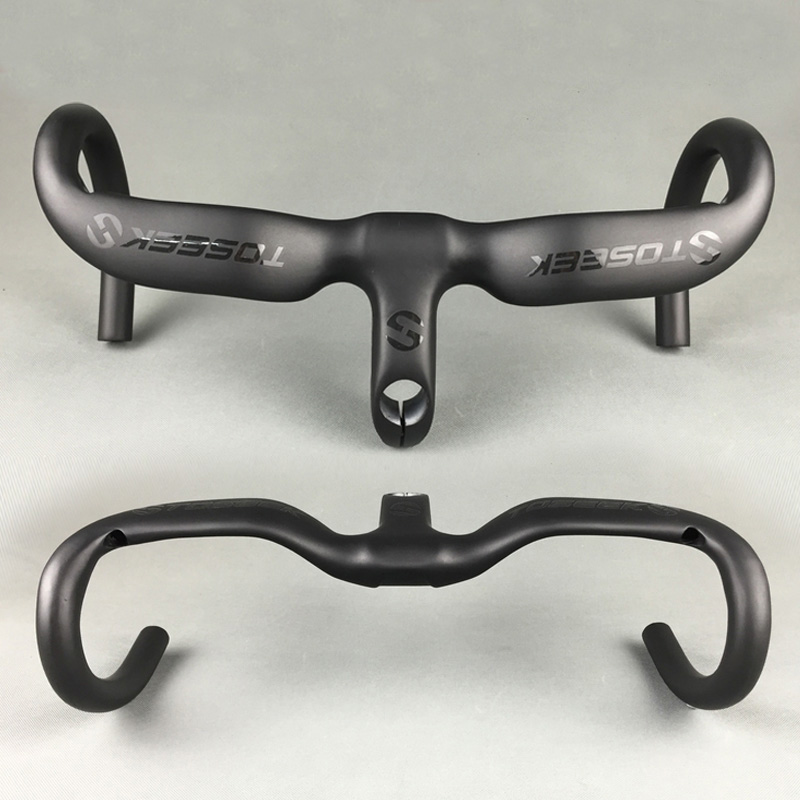 2016 New TOSEEK Full Carbon Fiber Integrated Road Bicycle Handlebar UD Matte 400/ 420/ 440mm 80/90/100/110/120mm road hanldebar 2017 new style toseek full carbon fiber road bike handlebar bicycle handlebar 31 8 400 420 440mm multicolored color matt