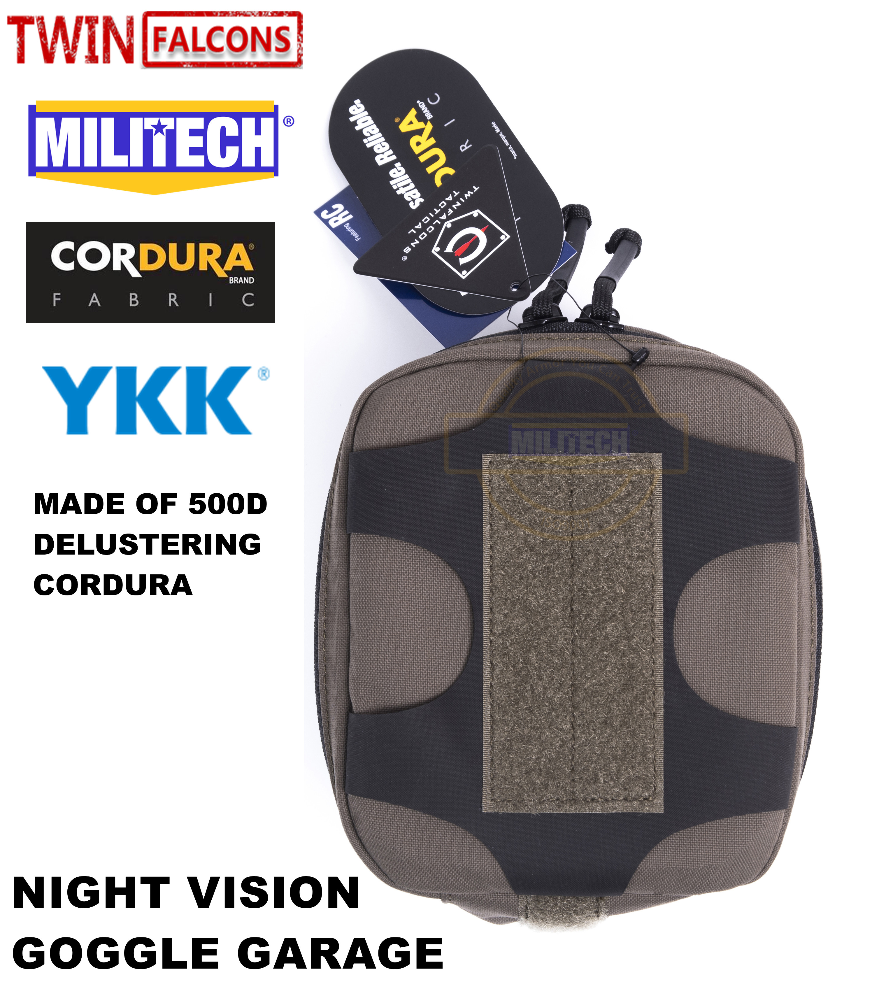 MILITECH TWINFALCONS TW Delustered Cordura NVD NOD NVG Garage For Helmet Night Vision Device Goggle Pouch Storage