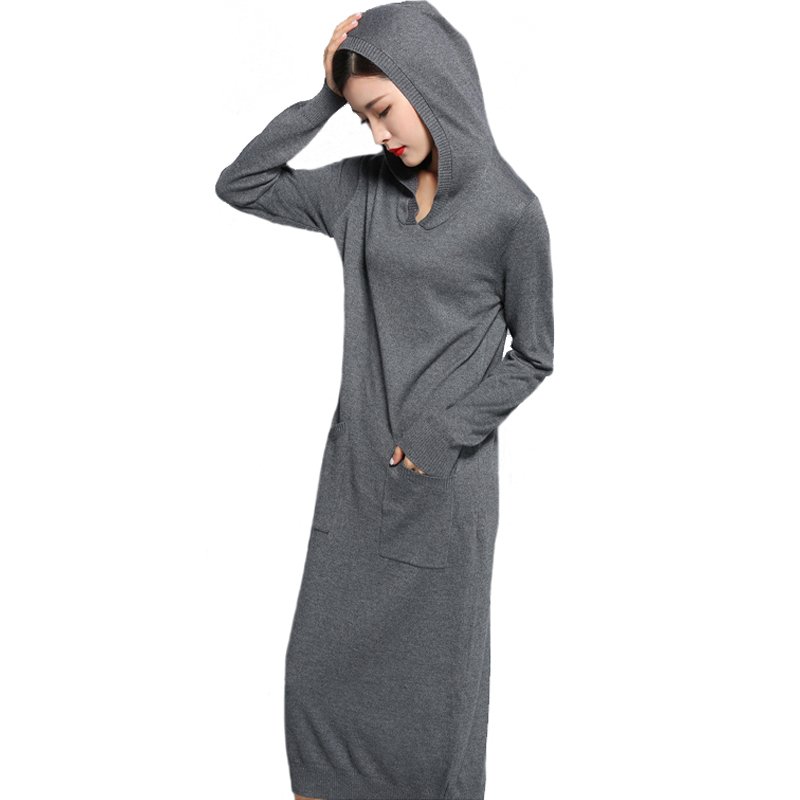 Warm Cashmere Dresses Women Hooded Autumn Kintted Sweater Dress Wool Cashmere Winter Dress Pullover Long Sweater Dresses Black